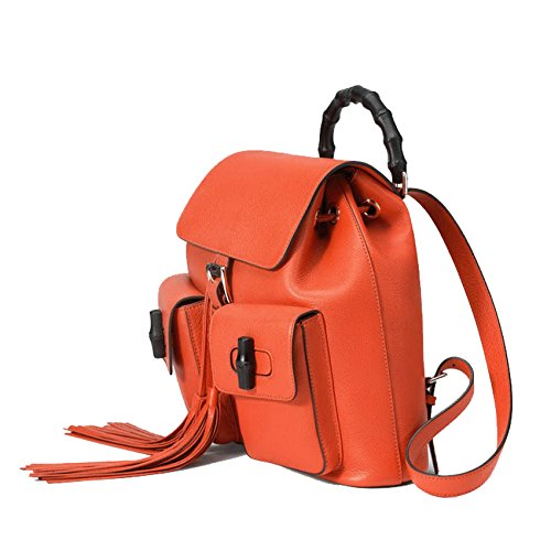 48461464e39 Gucci Bamboo Leather Backpack 370833 6525 (Bright Orange)