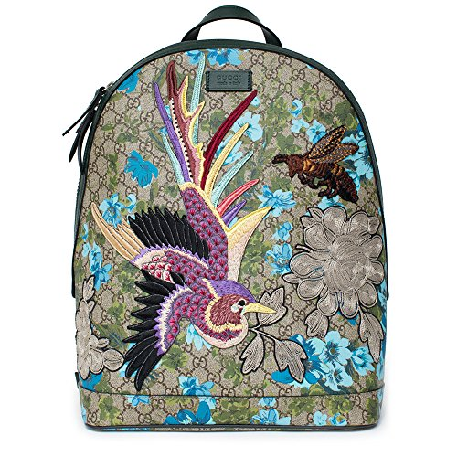 e19bf8542445 Gucci XL GG Floral Print Backpack Bag Leather Spring Embroidery Bird Italy  New